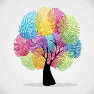 20633211 - diversity color tree finger prints illustration background set. file layered for easy manipulation and custom coloring.