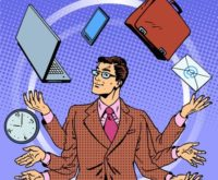 44517929 - time management businessman gadgets business concept. retro style pop art. a man juggles many hands gadgets. computer technology
